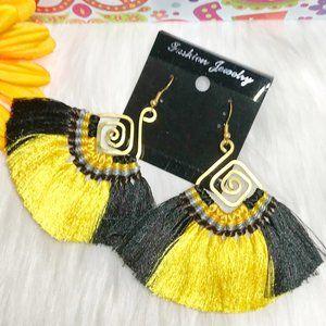 Boho Earrings Fan Tassel Drop Dangles Yellow Black